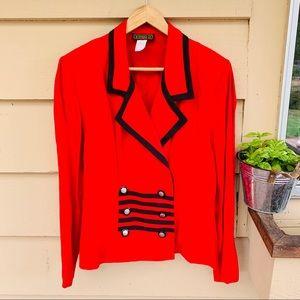 Vintage Career Work Blazer Red/Black 12